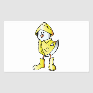 Cute Baby Chick Wearing a Yellow Raincoat Rectangular Sticker
