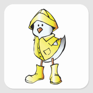 Cute Baby Chick Wearing a Yellow Raincoat Square Sticker