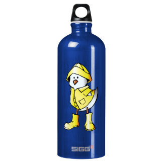 Cute Baby Chick Wearing a Yellow Raincoat Water Bottle