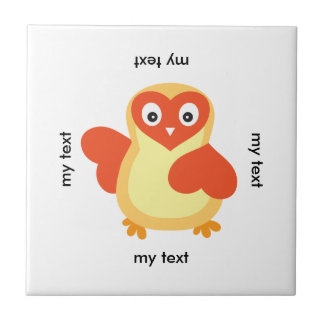 Cute Baby Chick with Custom Text Ceramic Tile