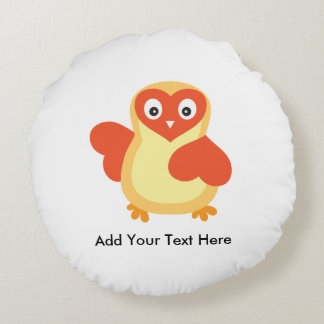 Cute Baby Chick with Custom Text Round Pillow