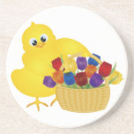 Cute Baby Chick with Tulips Coaster
