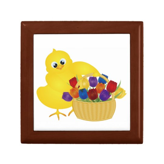 Cute Baby Chick with Tulips Giftbox Jewelry Box