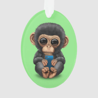 Cute Baby Chimpanzee Holding a Cell Phone Green