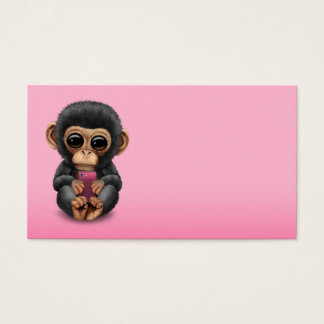Cute Baby Chimpanzee Holding a Cell Phone Pink Business Card