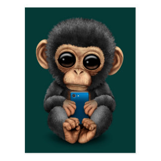 Cute Baby Chimpanzee Holding a Cell Phone Teal Postcard