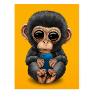 Cute Baby Chimpanzee Holding a Cell Phone Yellow Postcard