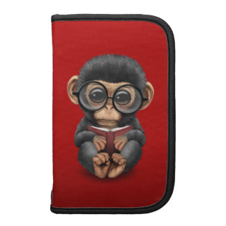 Cute Baby Chimpanzee Reading a Book on Red Folio Planner