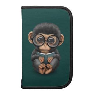 Cute Baby Chimpanzee Reading a Book on Teal Blue Folio Planners