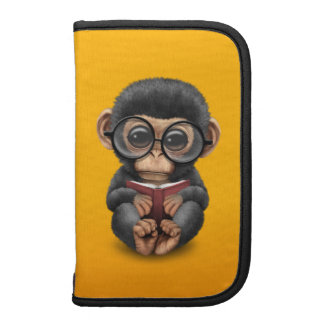 Cute Baby Chimpanzee Reading a Book on Yellow Folio Planners