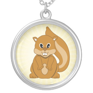 Cute Baby Chipmunk Animal Cartoon Silver Plated Necklace