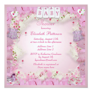 Cute Baby Clothes & Flowers Baby Girl Shower Invitation