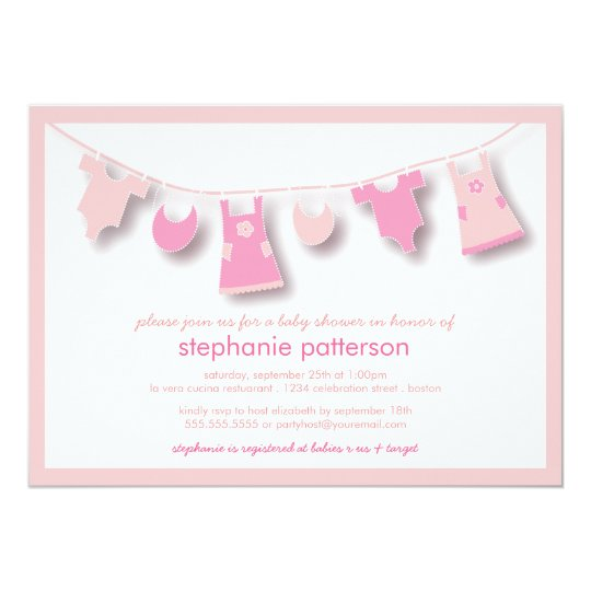 Perfect Cute Baby Clothes On The Line For Girl Baby Shower Card