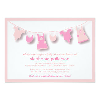 Cute Baby Clothes on the Line for Girl Baby Shower 5x7 Paper Invitation Card