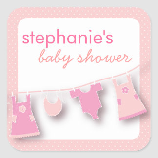 Cute Baby Clothes on the Line for Girl Baby Shower Square Sticker