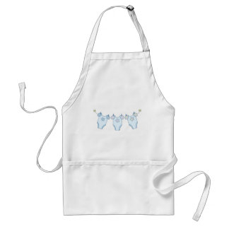 Cute Baby Clothesline Blue Adult Apron