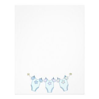 Cute Baby Clothesline Blue Letterhead