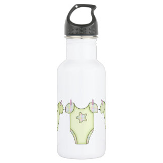 Cute Baby Clothesline Green Water Bottle