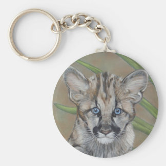 cute baby cougar big cat wildlife art key chain
