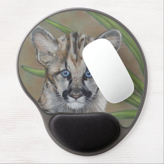 cute baby cougar big cat wildlife realist art gel mouse pad