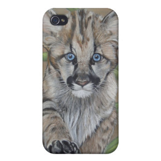 cute baby cougar big cat wildlife realist art iPhone 4 cover