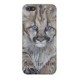 cute baby cougar big cat wildlife realist art iPhone SE/5/5s cover