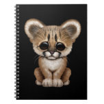 Cute Baby Cougar Cub on Black Spiral Note Book