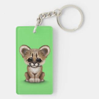 Cute Baby Cougar Cub on Green Keychain