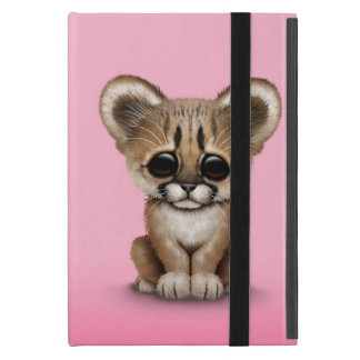 Cute Baby Cougar Cub on Pink iPad Mini Cover
