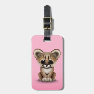 Cute Baby Cougar Cub on Pink Tag For Bags