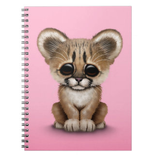 Cute Baby Cougar Cub on Pink Note Book