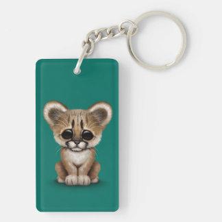 Cute Baby Cougar Cub on Teal Blue Keychain