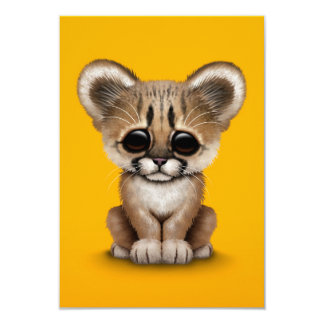 Cute Baby Cougar Cub on Yellow Card