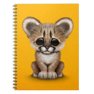 Cute Baby Cougar Cub on Yellow Note Books