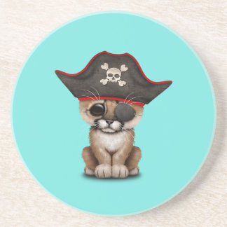 Cute Baby Cougar Cub Pirate Drink Coaster