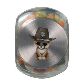 Cute Baby Cougar Cub Sheriff Jelly Belly Candy Jar