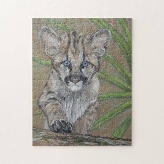 cute baby cougar kitten big cat wildlife art jigsaw puzzles