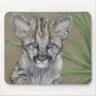 cute baby cougar kitten big cat wildlife mouse pad