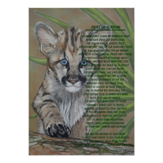 cute baby cougar kitten wildlife art poem poster