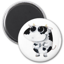 artsprojekt, cow, cute cow, kawaii cow, cute farm, cows, animal, kawaii, cute animal, farm animal, kid cow, cuteness, cute, illustration cow, baby animal, little animal, little cow, baby cow, Ímã com design gráfico personalizado