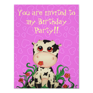 Cute Baby Cow Birthday Party Invitation