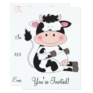 Cute Baby Cow Cartoon Card