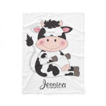Cute Baby Cow Cartoon Fleece Blanket