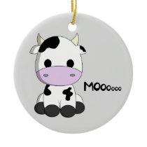 Cute baby cow cartoon kids ceramic ornament