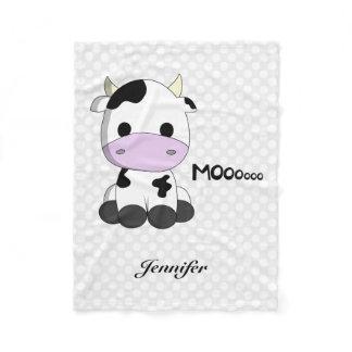 Cute baby cow cartoon kids name fleece blanket