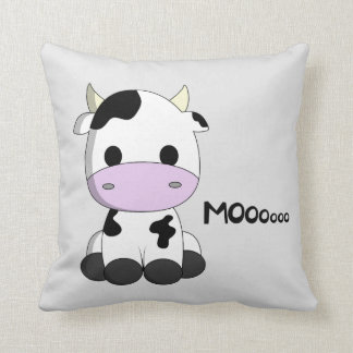 Cute baby cow cartoon throw pillow