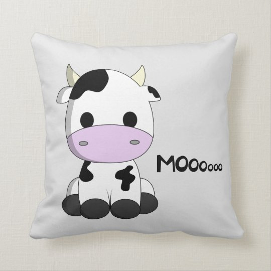 Cute Baby Cow Cartoon Throw Pillow Zazzle Com