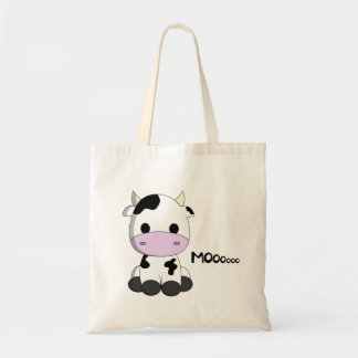 Cute baby cow cartoon tote bag