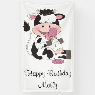 Cute Baby Cow Cartoon With His Favorite Treat Banner