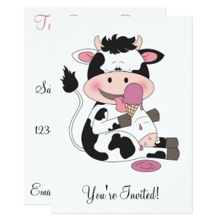 Cute Baby Cow Cartoon With His Favorite Treat Card